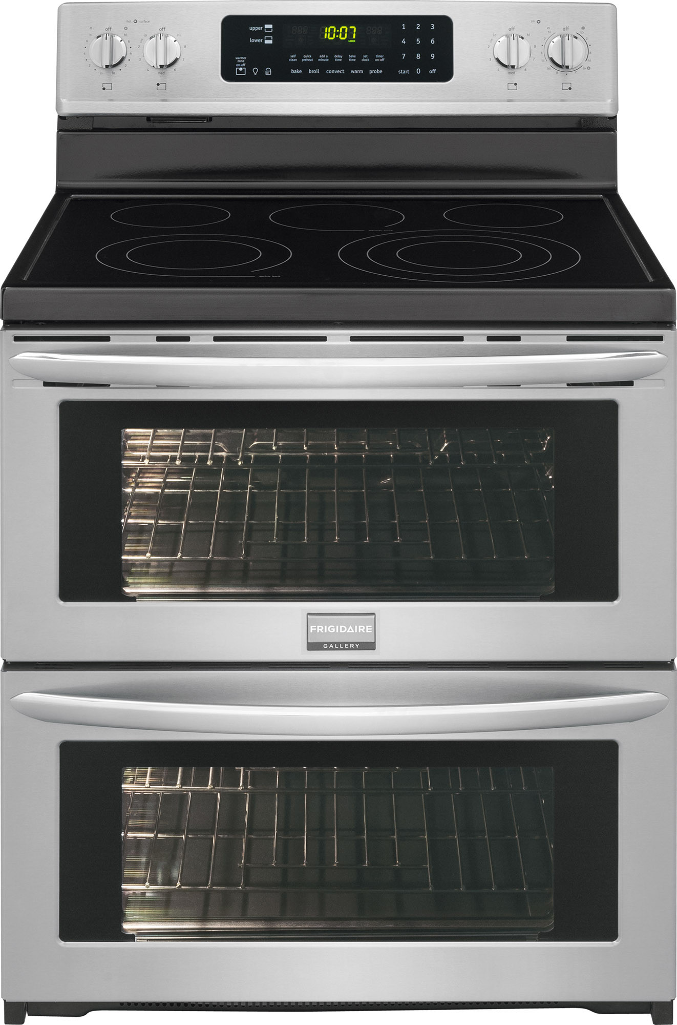 Frigidaire Fgef306tpf 30 Inch Double Oven Electric Range With True Convection Quick Preheat Temperature Probe Self Clean Quick Boil Warm Zone Power Broil Add A Minute Button 7 2 Cu Ft Oven Capacity 5 Heating Elements