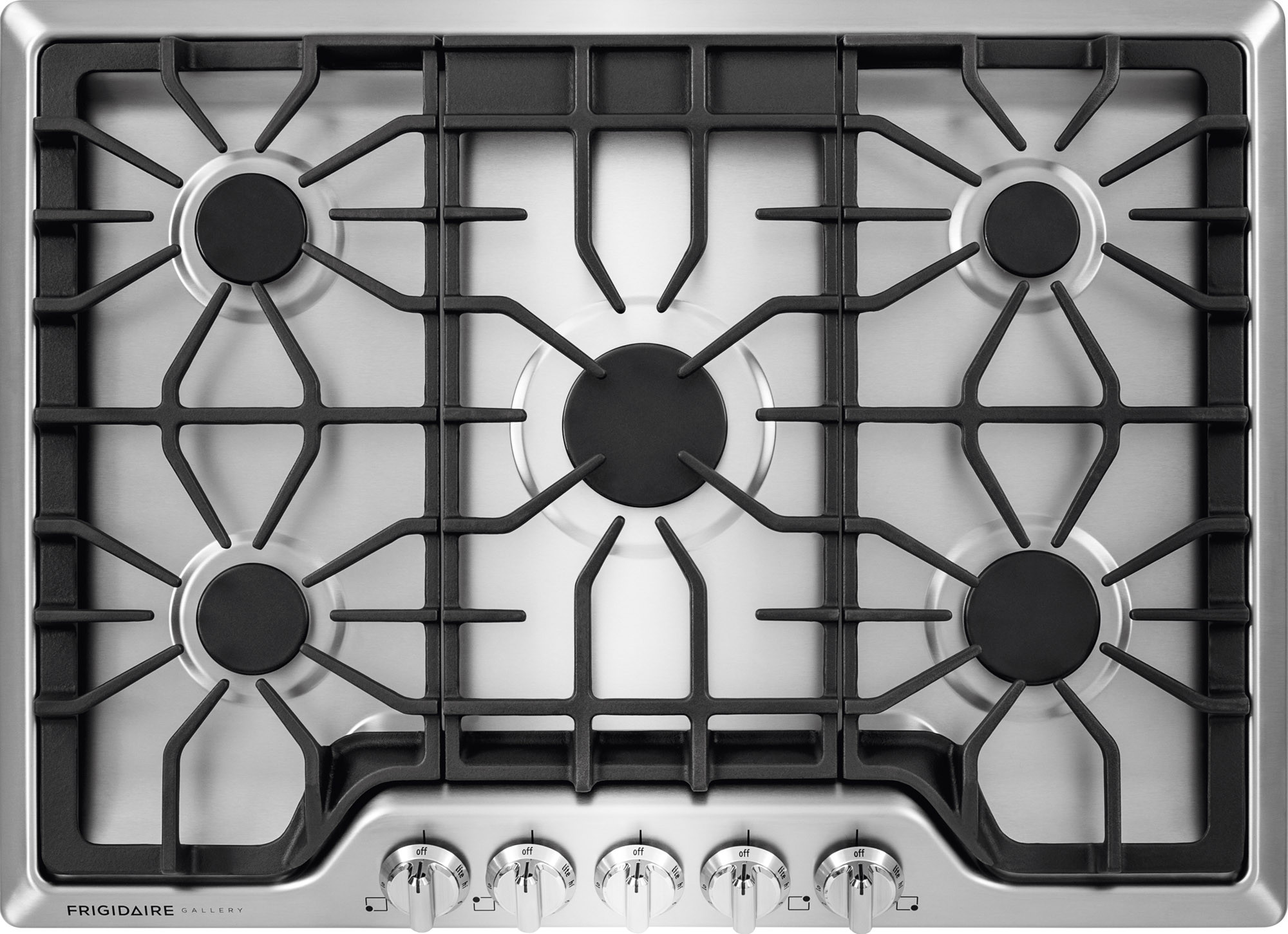 Frigidaire FGGC3047QS 30 Inch Gas Cooktop with LP Conversion Option, Seamless Recessed Burners, SpillSafe®, Angled Front Controls, Continuous Iron Grates, ...