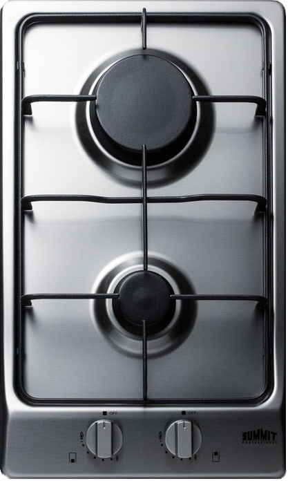 Stainless Steel 12 Deluxe Gas Cooktop with 2 Burners Finish