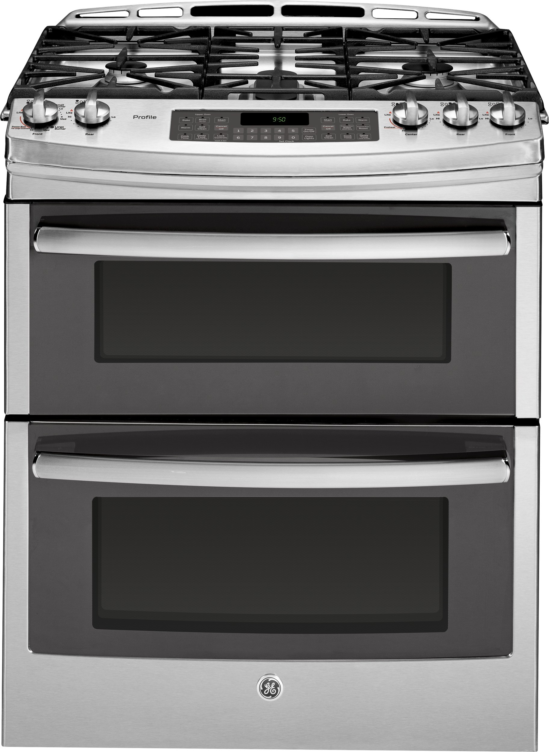 Ge Pgs950sefss 30 Inch Slide In Double Oven Gas Range With Convection Simmer Burner Reversible Grill Griddle Tri Ring 5 Sealed Burners