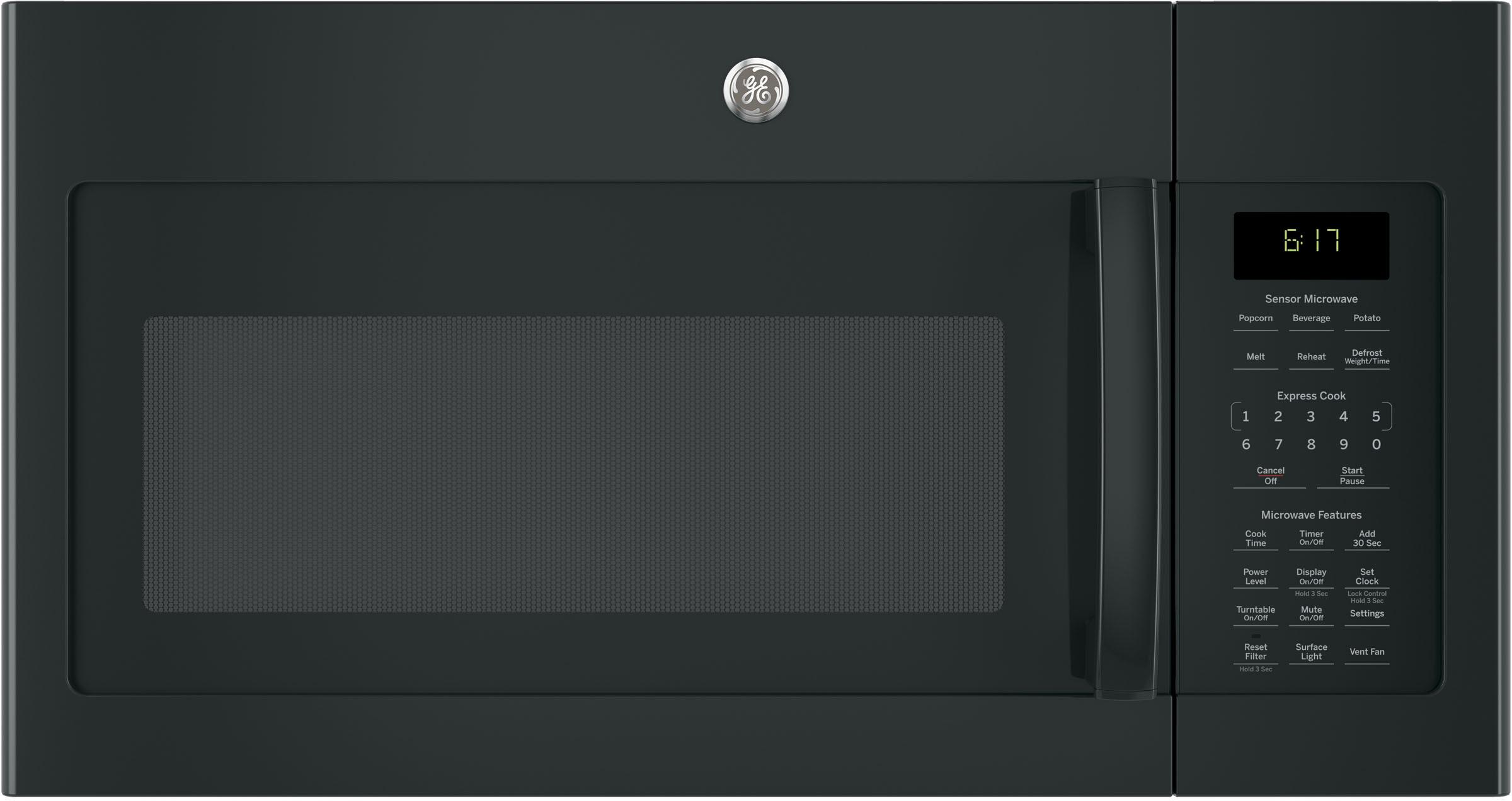 Ge Jvm6175dkbb 1 7 Cu Ft Over The Range Microwave With 000 Watts 300 Cfm Ventilation 10 Levels Sensor Cooking Melt Feature Add 30 Seconds