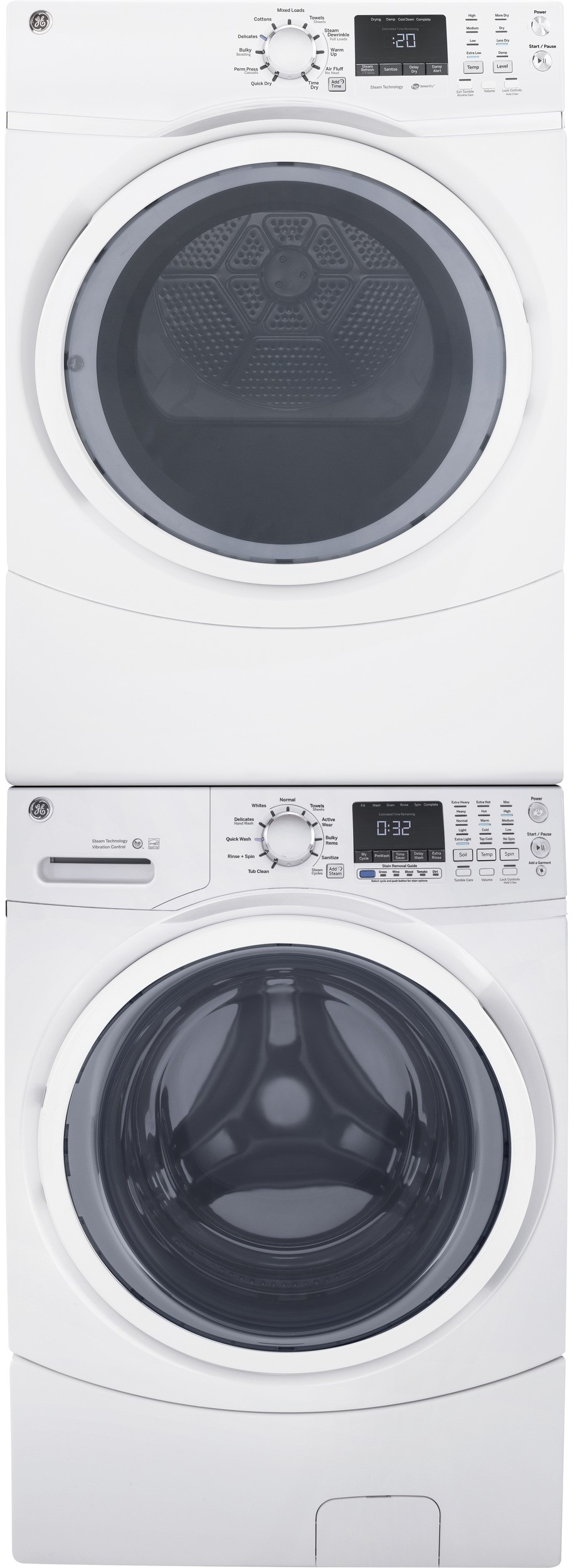 Ge Gewadrgwh453 Stacked Washer Amp Dryer Set With Front Load