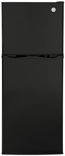 Ge Gpv10fgnbb 24 Inch Top Freezer Refrigerator With 9 8 Cu Ft Capacity Internal Compressor Led Lighting Deep Spillproof Glass Shelves Semi Automatic Defrost Reversible Hinge And 12v Dc Power For Rv Boat Black