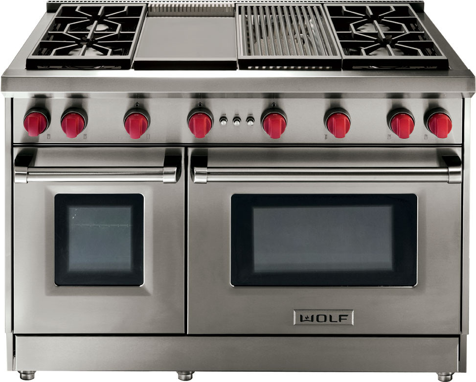 Wolf Gr486clp 48 Inch Pro Style Gas Range With 6 Dual Stacked Sealed Burners Charbroiler 4 Cu Ft Convection Large Oven Infrared Broiler