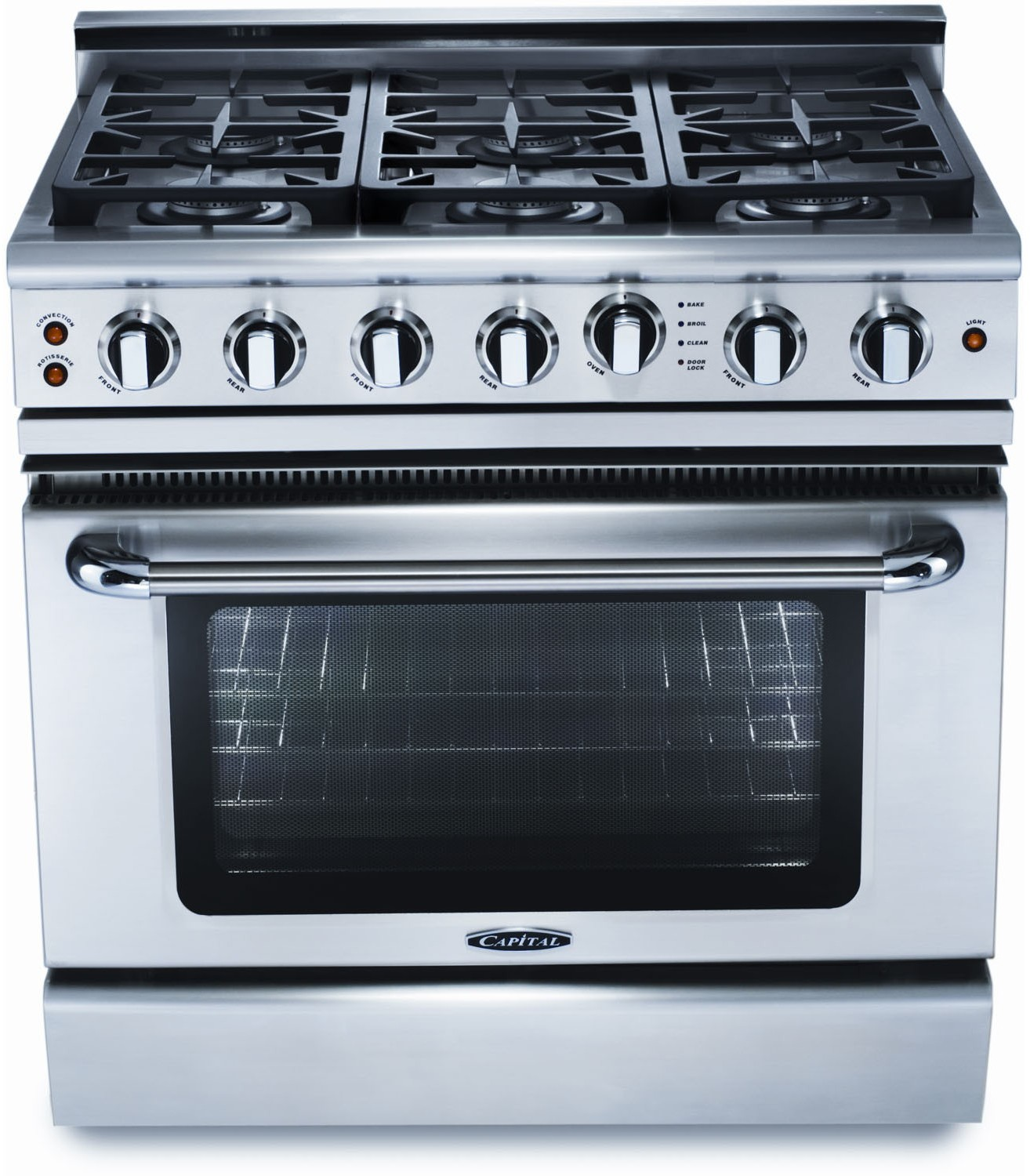 Capital GSCR366N 36 Inch Pro-Style Gas Range with 6 Sealed Burners ...