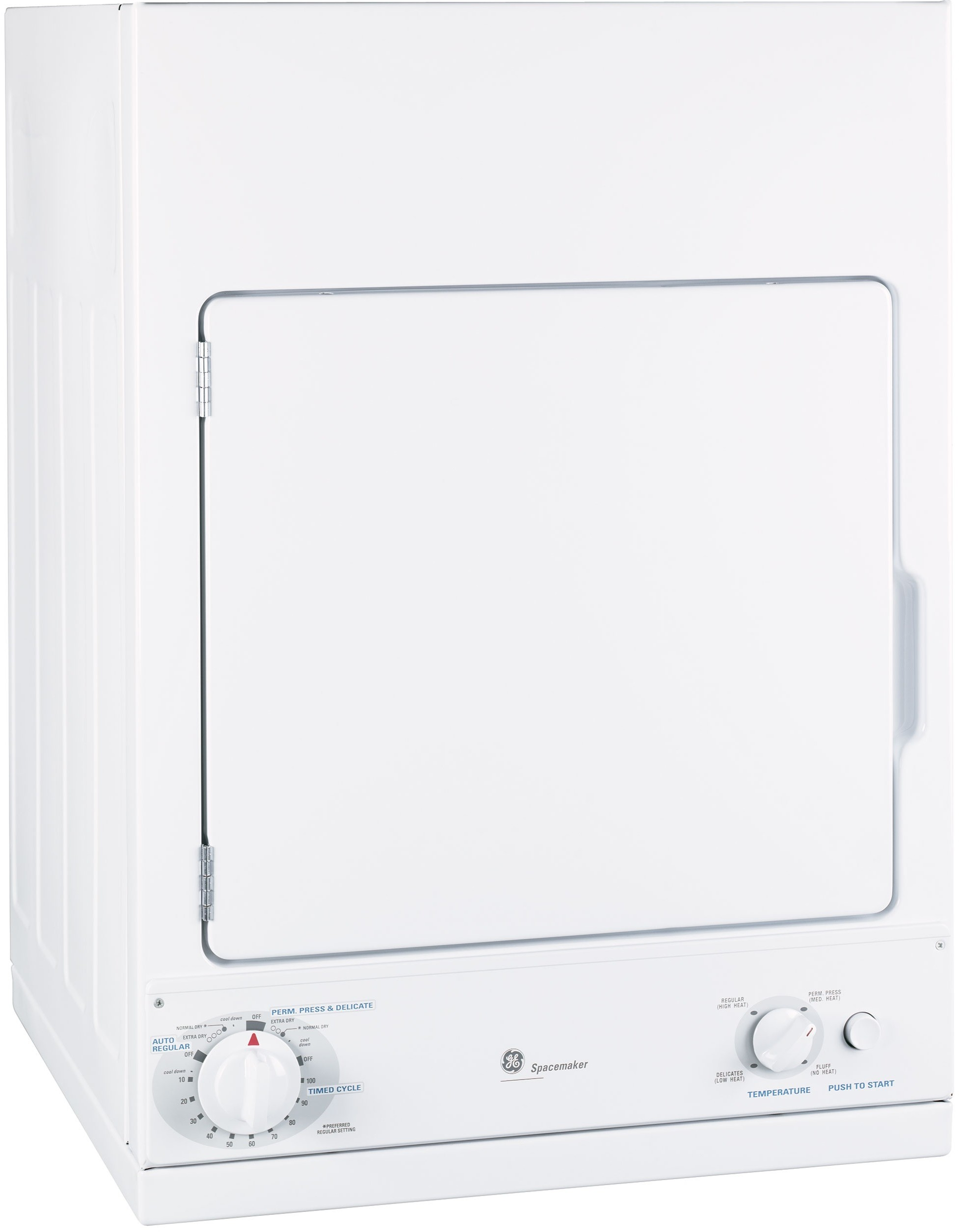 GE DSKS433EBWW 24 Inch 3.6 cu. ft. Stationary Electric Dryer with 3 Dry  Cycles, 4 Temperature Selections, Auto Dry and Removable Up-Front Filter:  White with ...