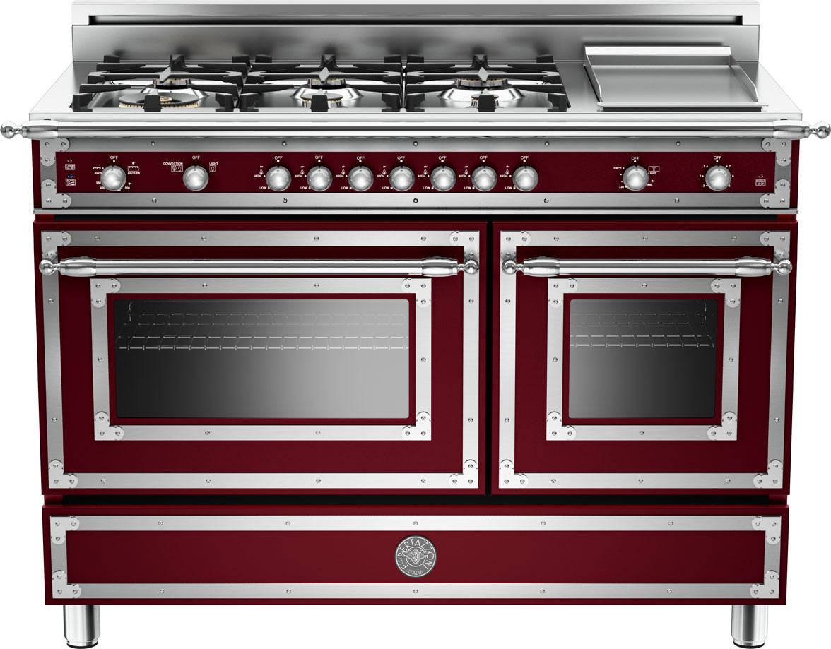 Bertazzoni her486ggasvi 48 inch traditional style gas range with 6 sealed brass burners 3 6 cu ft main convection oven manual clean electric griddle