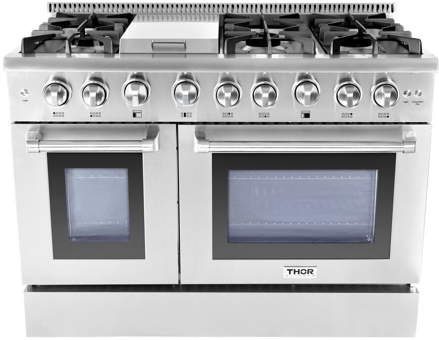 ft Double Oven and 6 Burners and Griddle and Convection Fan 48 Freestanding Professional Style Dual Fuel Range with 4.2 and 2.5 cu Stainless Steel
