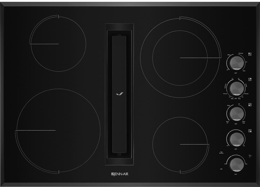Jennair Jed3430gb 30 Inch Electric Cooktop With 4 Element Burners Ceramic Glass Surface Dual Choice Element Jx3 Downdraft Ventilation System Durafinish Glass Protection Die Cast Metal Knobs Prop 65 Ul And Ada Compliant