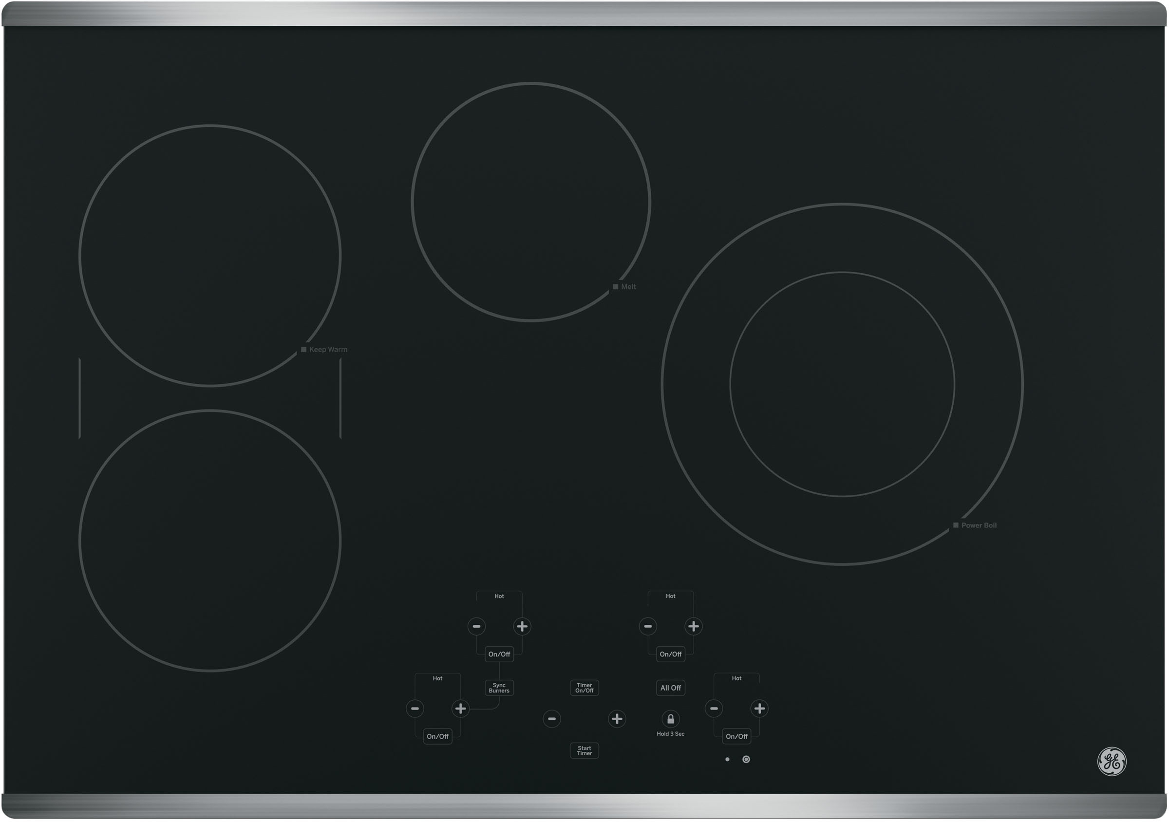 GE 30 in. Radiant Electric Cooktop in Stainless Steel with 4 Elements including Power Boil Element, Silver -  JP5030SJSS
