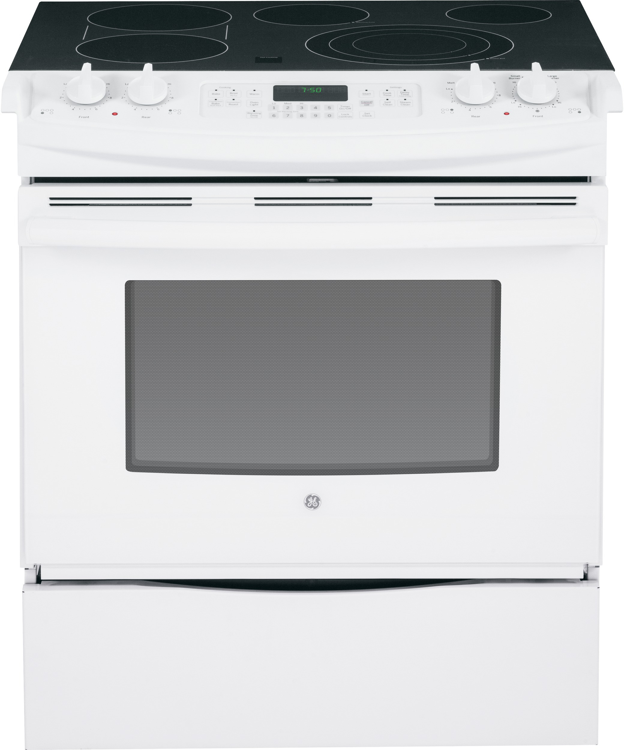 Ge Js750dfww 30 Inch Slide In Electric Range With True Convection Boil Fast Preheat Bridge Zone Self Clean 4 Elements Storage Drawer Fits