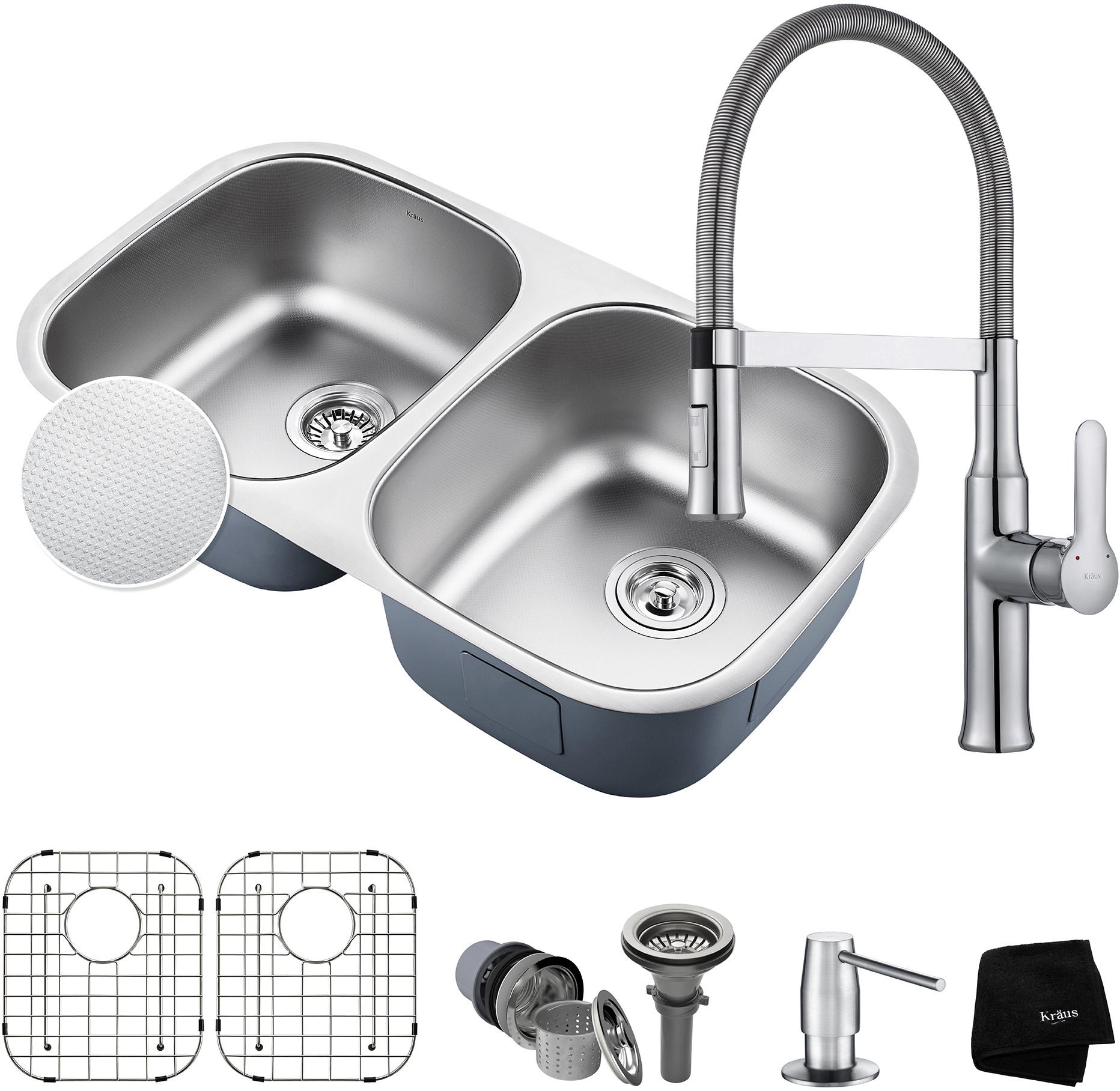 Kraus Kbu22e164042ch 32 Inch Double Bowl Kitchen Sink And