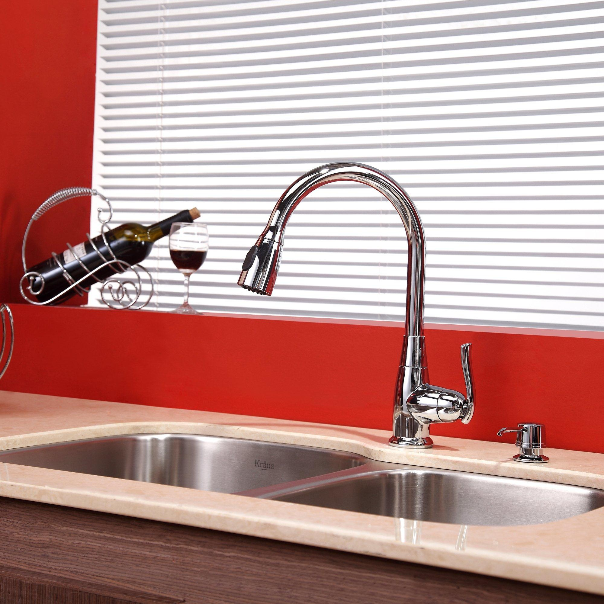 Kraus Kbu24kpf2230ksd30ch 32 Inch Undermount Double Bowl Stainless Steel Sink With Pull Down Faucet Hi Arc Spray Head 2 2 Gpm Flow Rate Basket Strainer Bottom Grid Soap Dispenser And Ada Compliant Chrome Faucet