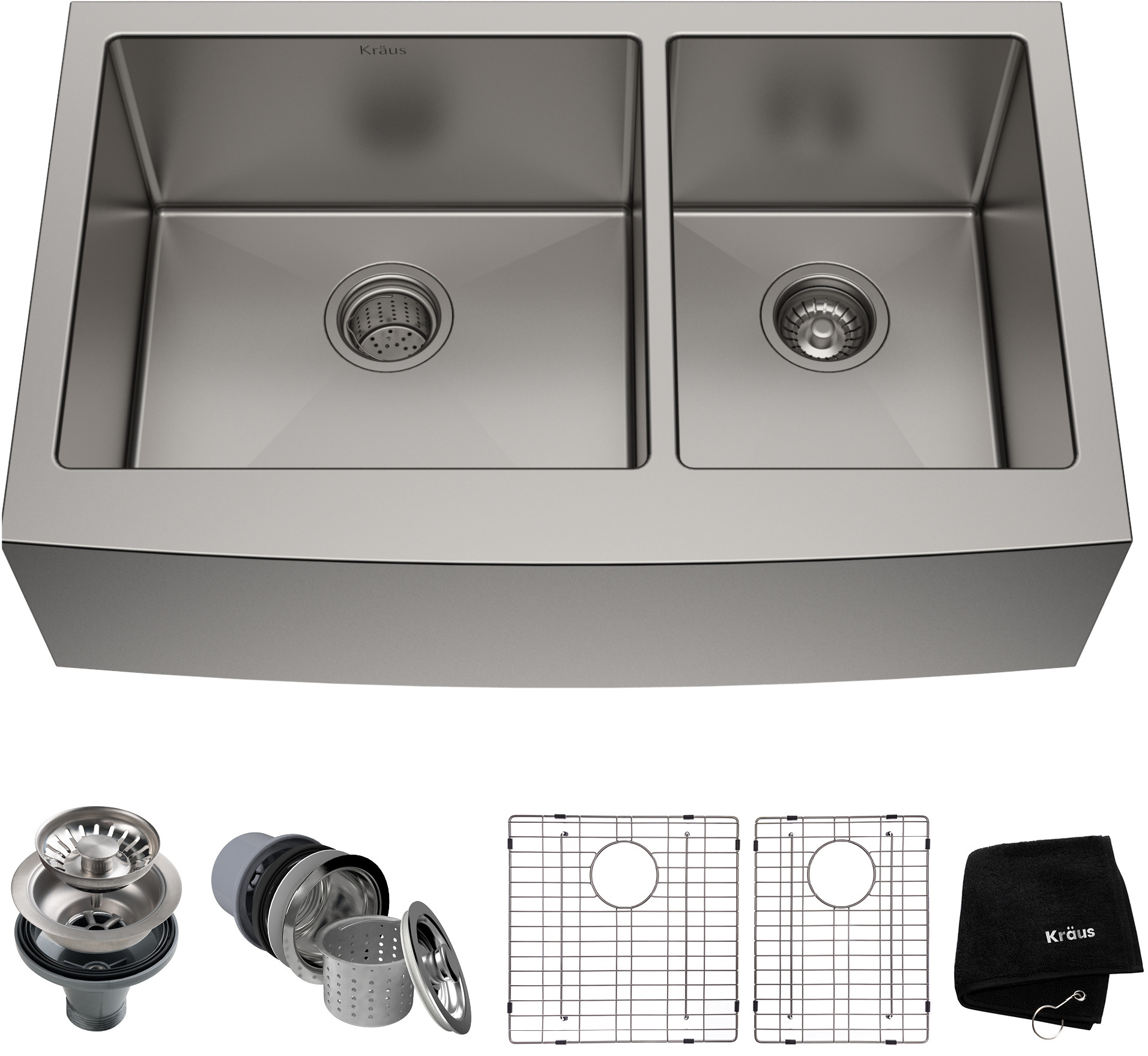 Kraus Khf20336 36 Inch Farmhouse 60 40 Double Bowl Kitchen Sink With