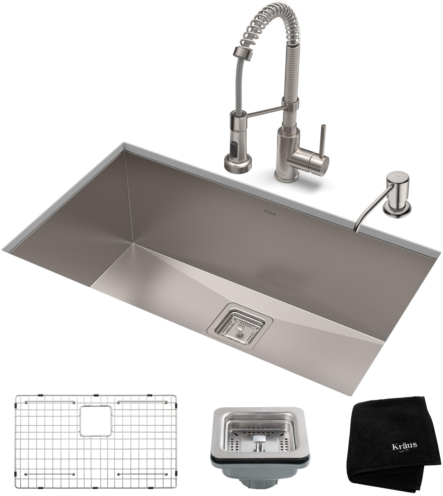 KRAUS Pax 31 1//2-inch 16 Gauge Undermount Single Bowl Stainless Steel Kitchen
