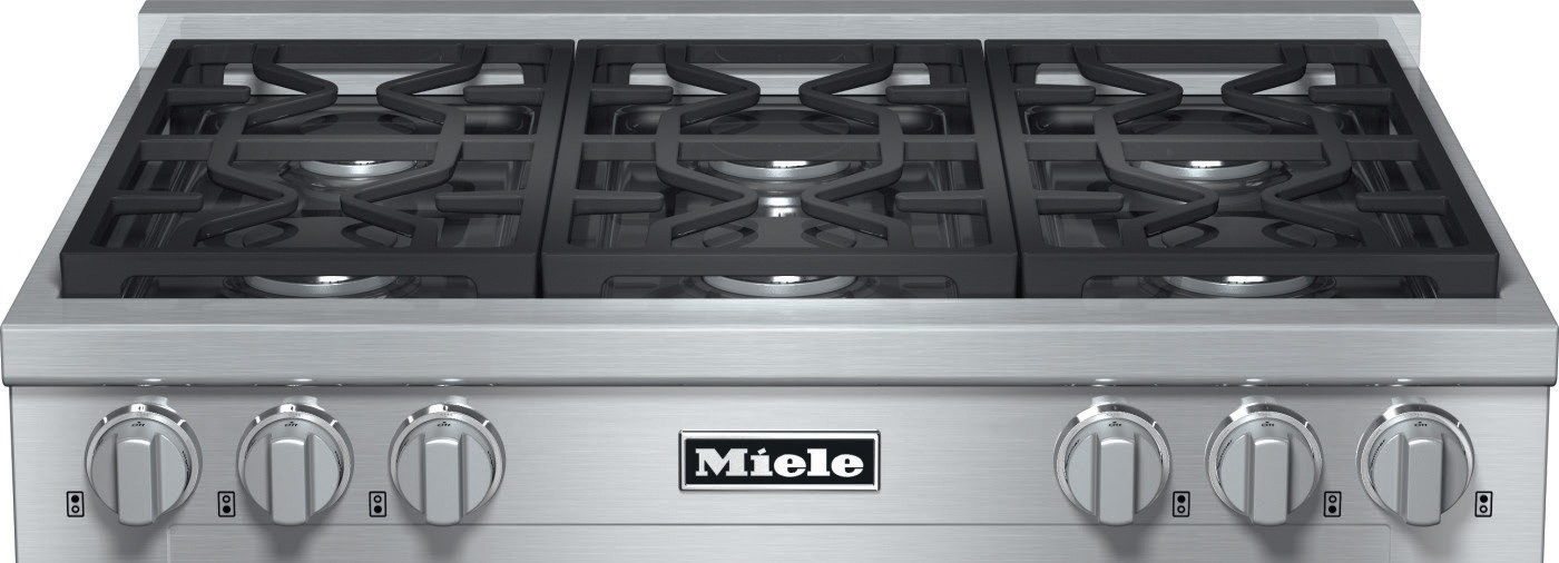 Miele Kmr1134g 36 Inch Pro Style Gas Rangetop With 6 Sealed M Dual Stacked Burners Truesimmer Function Dishwasher Safe Grates Automatic Re Ignition