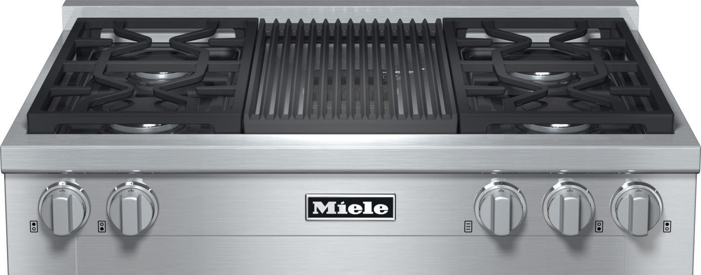 Miele Kmr1135lp 36 Inch Pro Style Gas Rangetop With 4 Sealed M Dual Stacked Burners Truesimmer Dishwasher Safe Grates Automatic Re Ignition