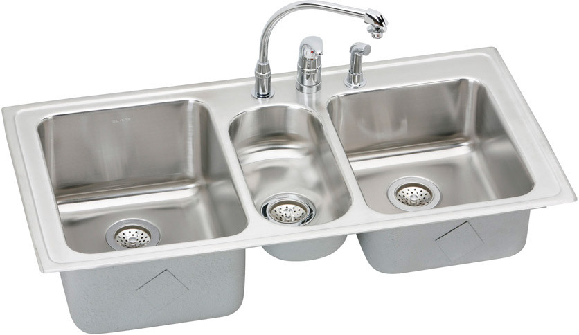 Elkay Lgr4322c1 43 Inch Top Mount Triple Bowl Stainless Steel Sink Package With 18 Gauge 10 Inch Large Bowl Depth 3 1 2 Inch Drain Self Rim Faucet And Retractable Spray Hose 1 Faucet Hole