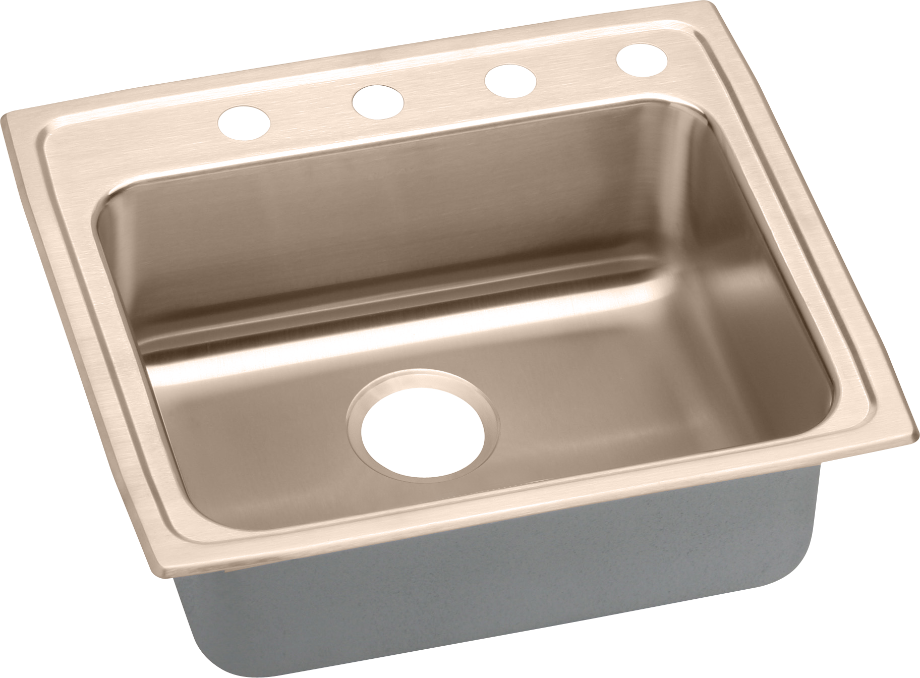 Elkay Lrad221945mr2cu 22 Inch Medical Grade Single Bowl Sink With Sound Dampening Antimicrobial Copper Repairable Finish And Ada Compliant 2 Faucet Holes Off Center Right