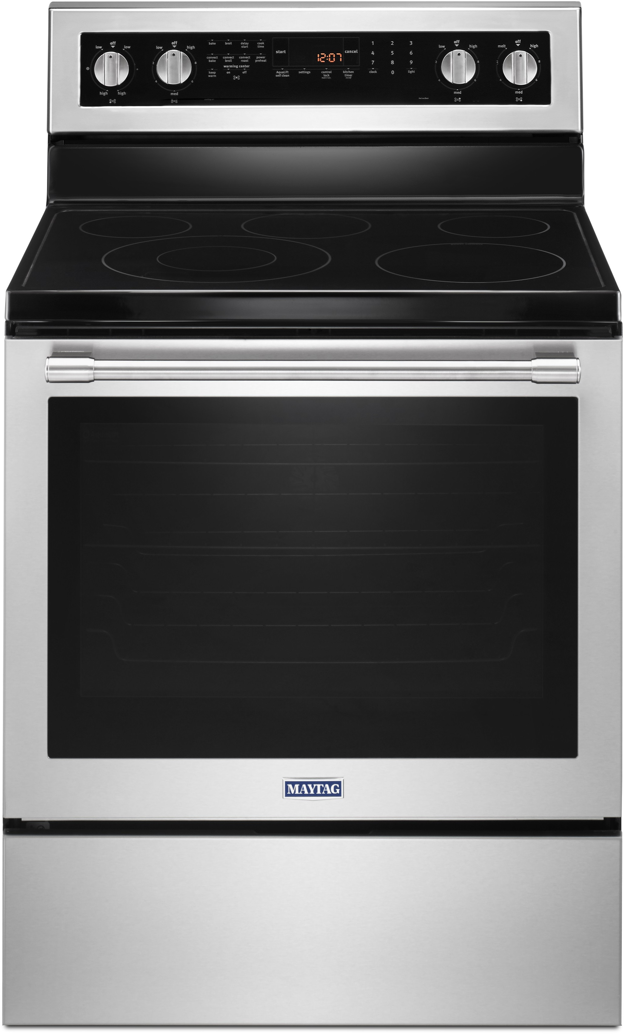 Maytag MER8800FZ 30 Inch Electric Range with Dual-Choice™ Element, Power™  Element, Power Preheat, 6.4 cu. ft. True Convection Oven, 5 Radiant Heating  ...