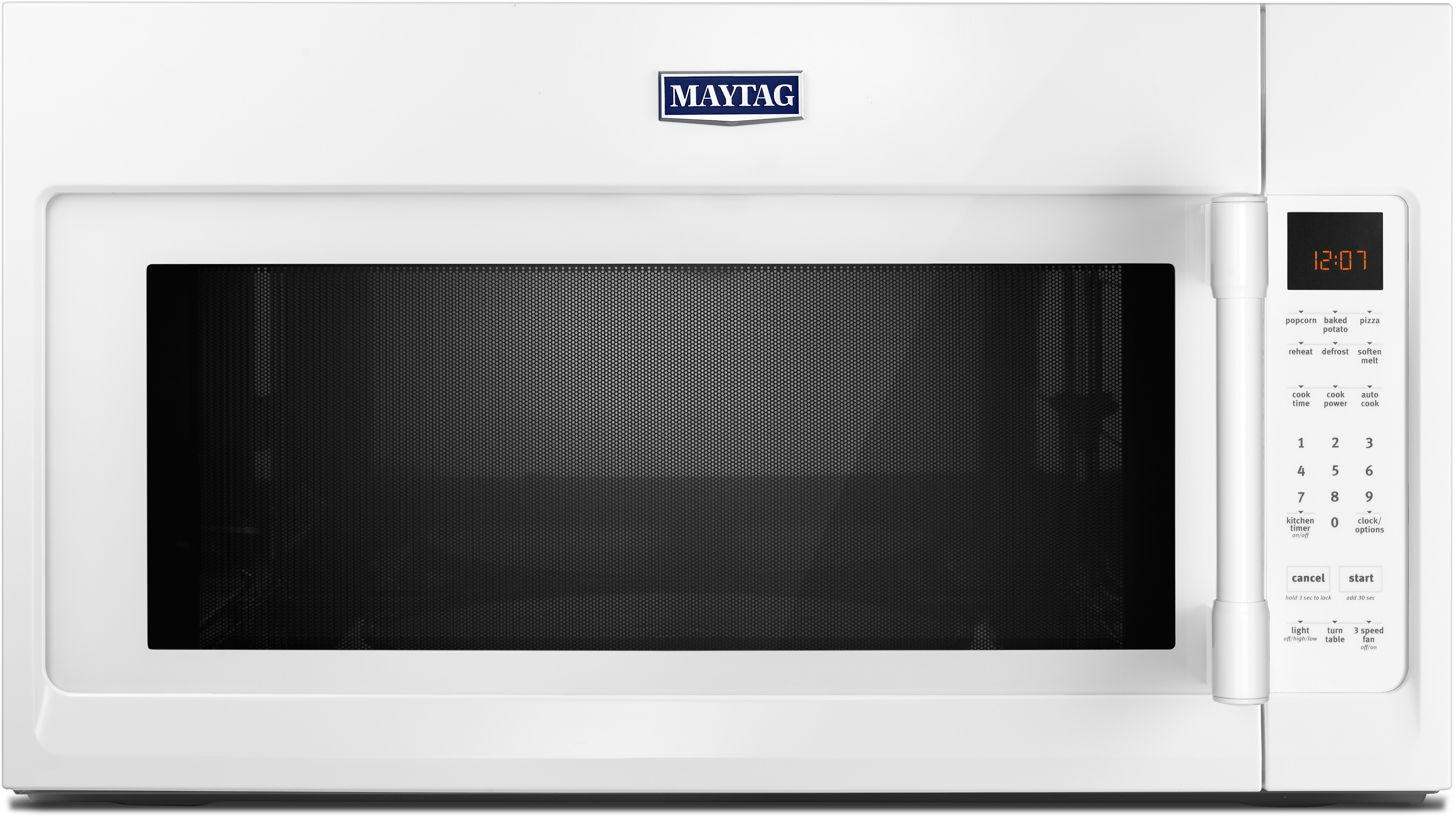 Maytag Mmv4206fw 2 0 Cu Ft Over The Range Microwave Oven With 1 000 Cooking Watts 400 Cfm Sensor Reheat Multiple Sd Exhaust Fan Charcoal Odor