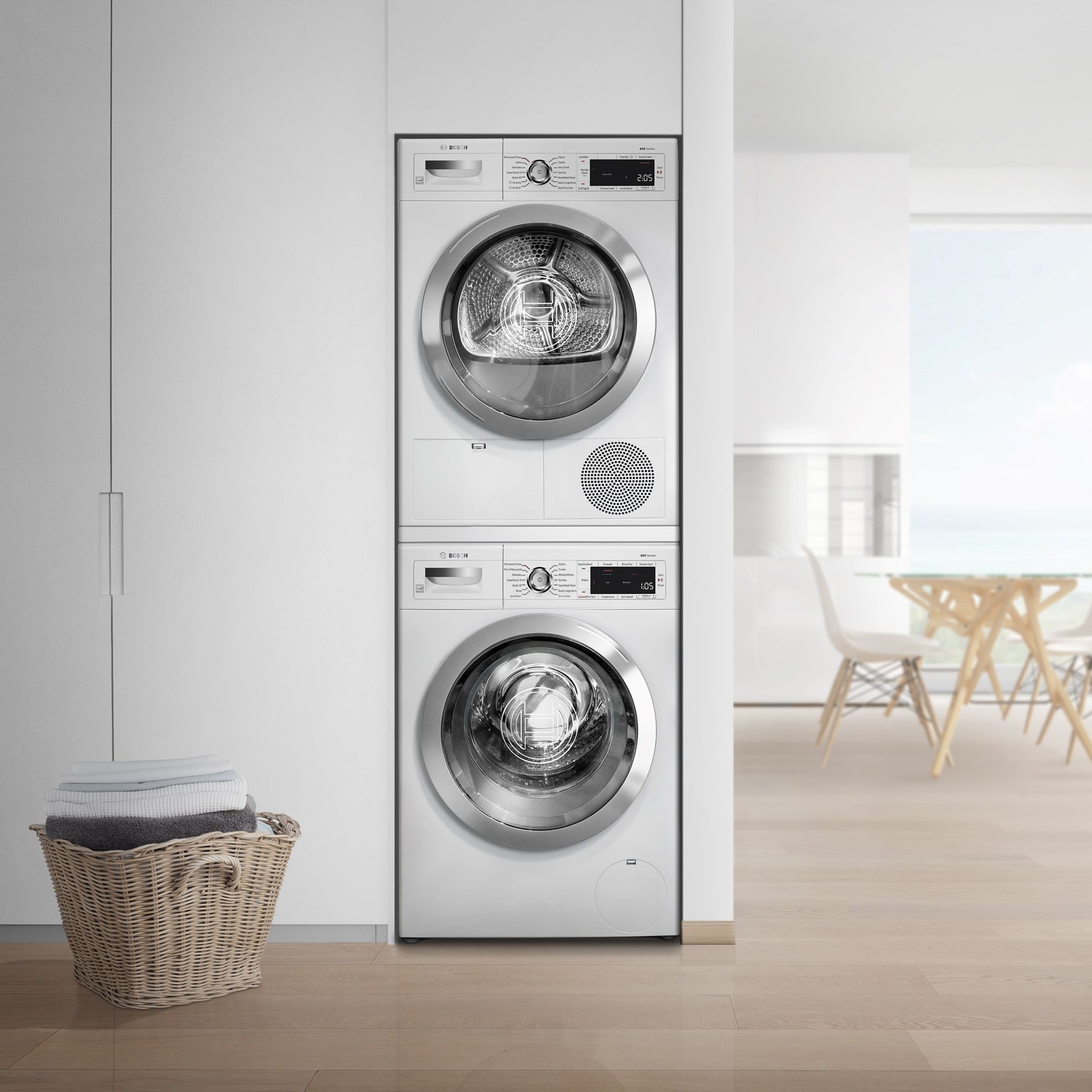 Bosch Bowadrew867 Stacked Washer Amp Dryer Set With Front
