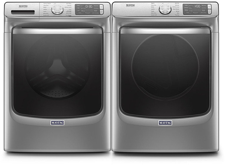 Maytag Mawadrec86301 Side By Side Washer Dryer Set With Front Load Washer And Electric Dryer In Metallic Slate