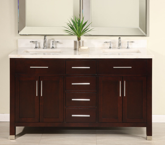 Empire Industries Mo60dc 60 Inch Contemporary Double Bowl Vanity With 4 Cabinet Doors Soft Closing Drawer Slides Catalyzed Poly Urethane Finish And