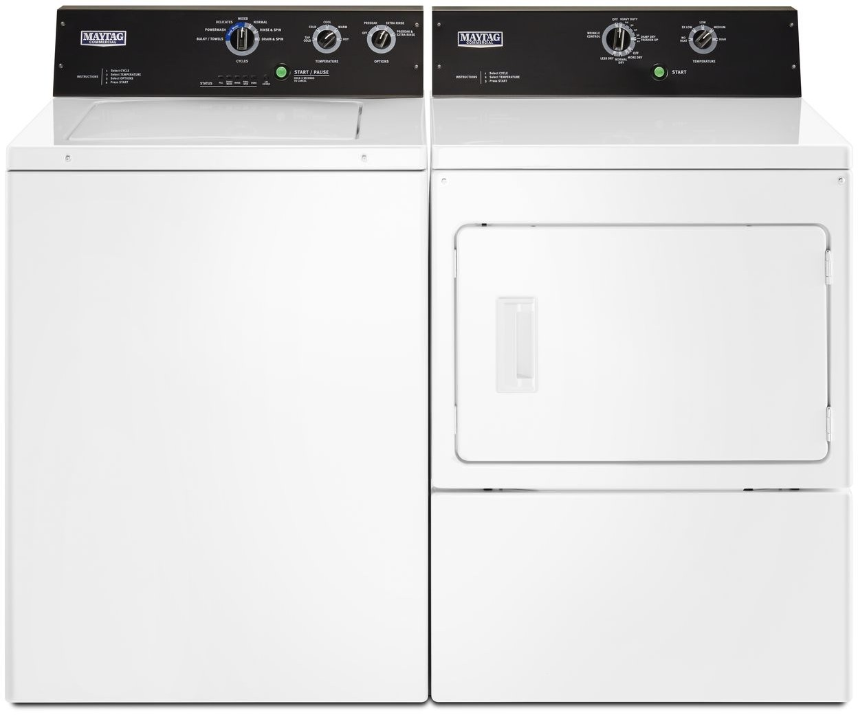 Maytag Mawadrew575 Side By Side Washer Dryer Set With Top Load Washer And Electric Dryer In White