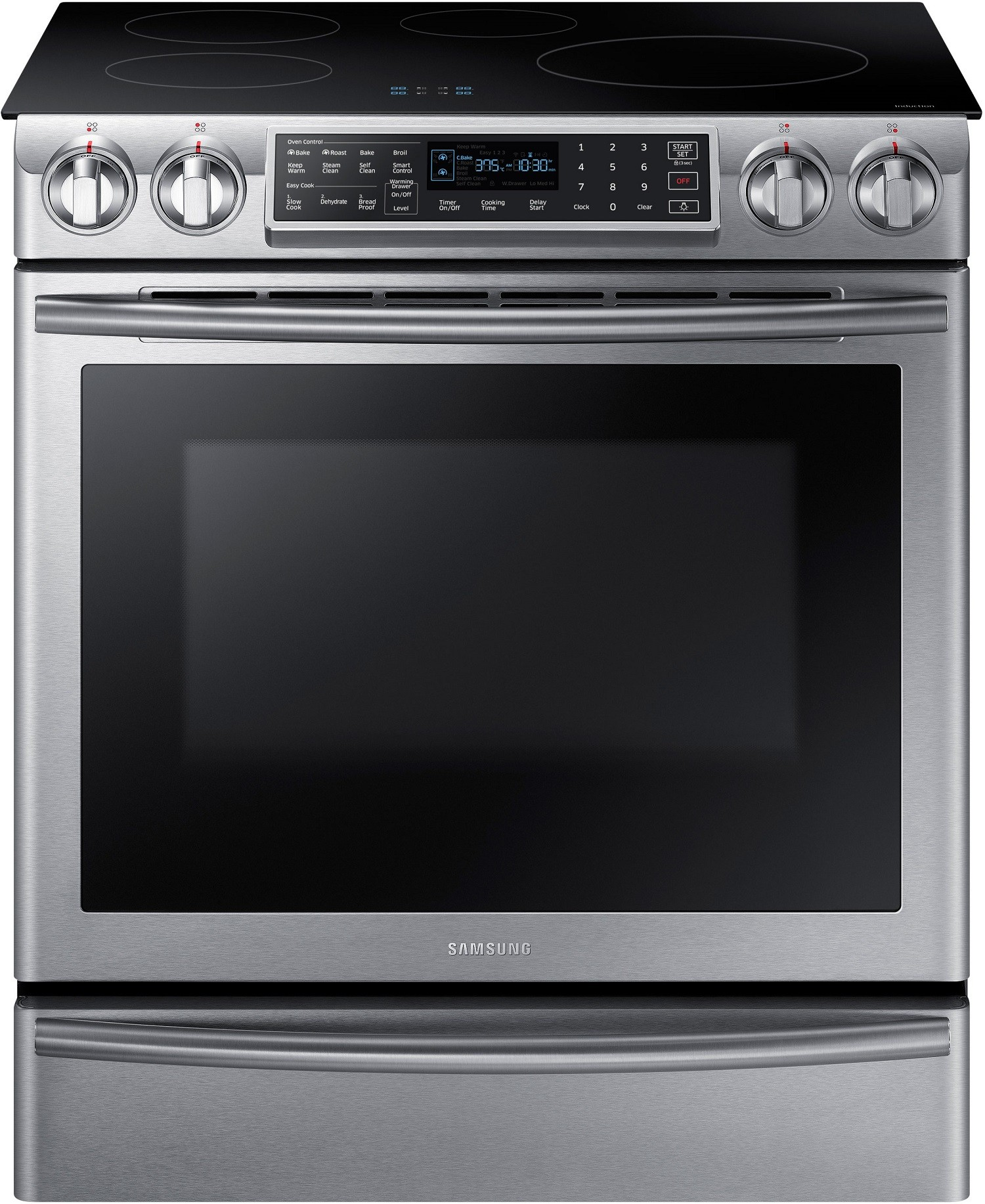 Samsung Ne58k9560ws 30 Inch Induction Slide In Range With 5 8 Cu Ft Dual Fan Convection Oven Virtual Flame Technology Wifi Connectivity Delay Start