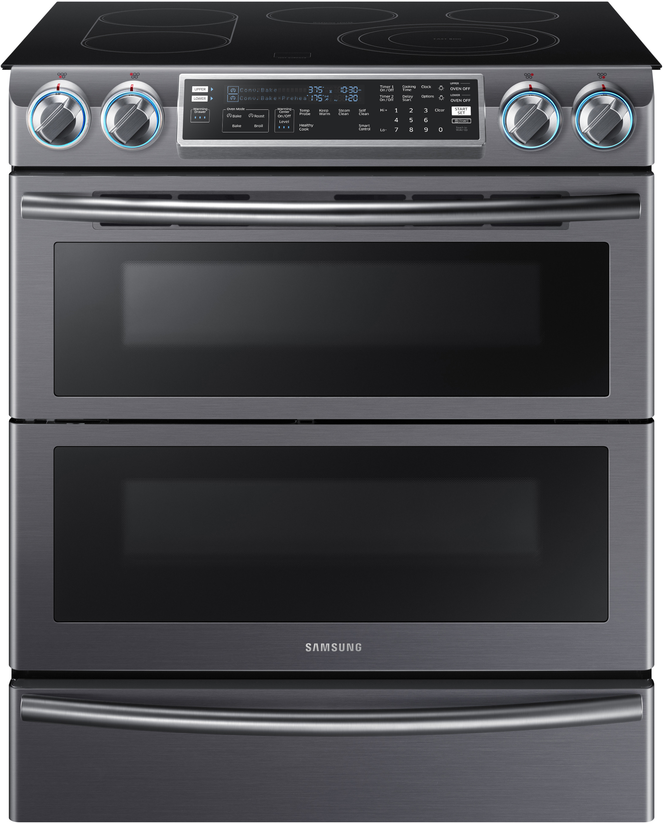 Samsung Ne58k9850wg 30 Inch Flex Duo Slide In Electric Range With Soft Close Dual Door 5 Heating Elements 8 Cu Ft Convection Oven Blue Led S