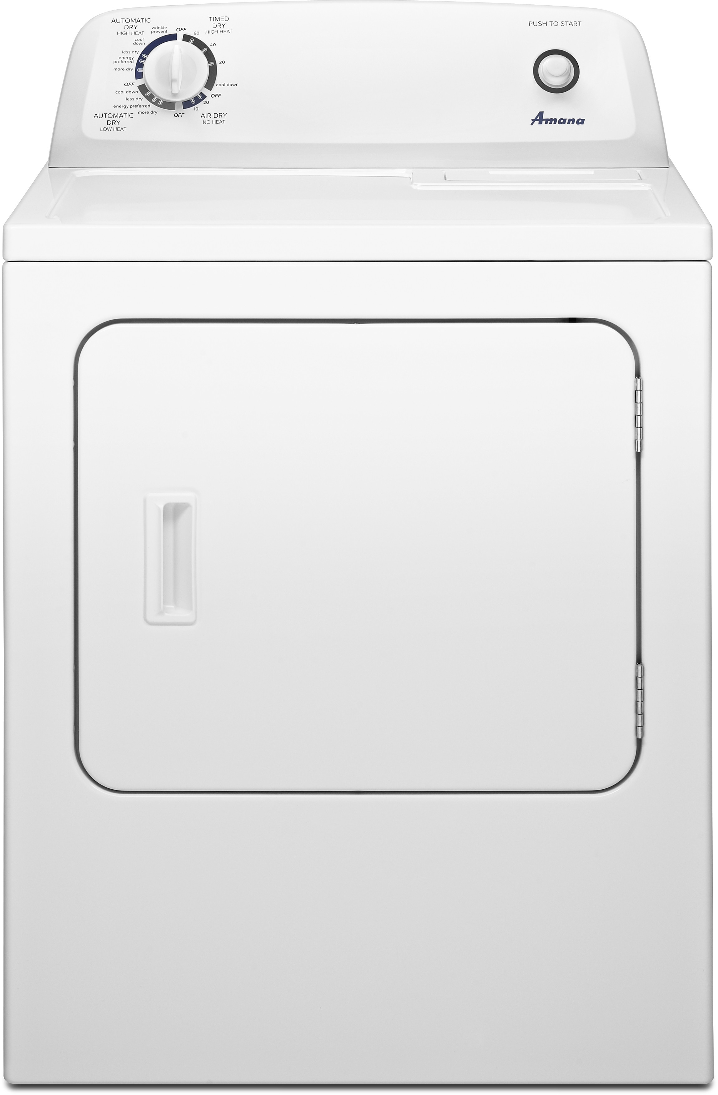amana ned4655ew 29 inch 6 5 cu  ft  electric dryer with 11 dry cycles, 3  temperature settings, wrinkle prevent option and automatic dryness control