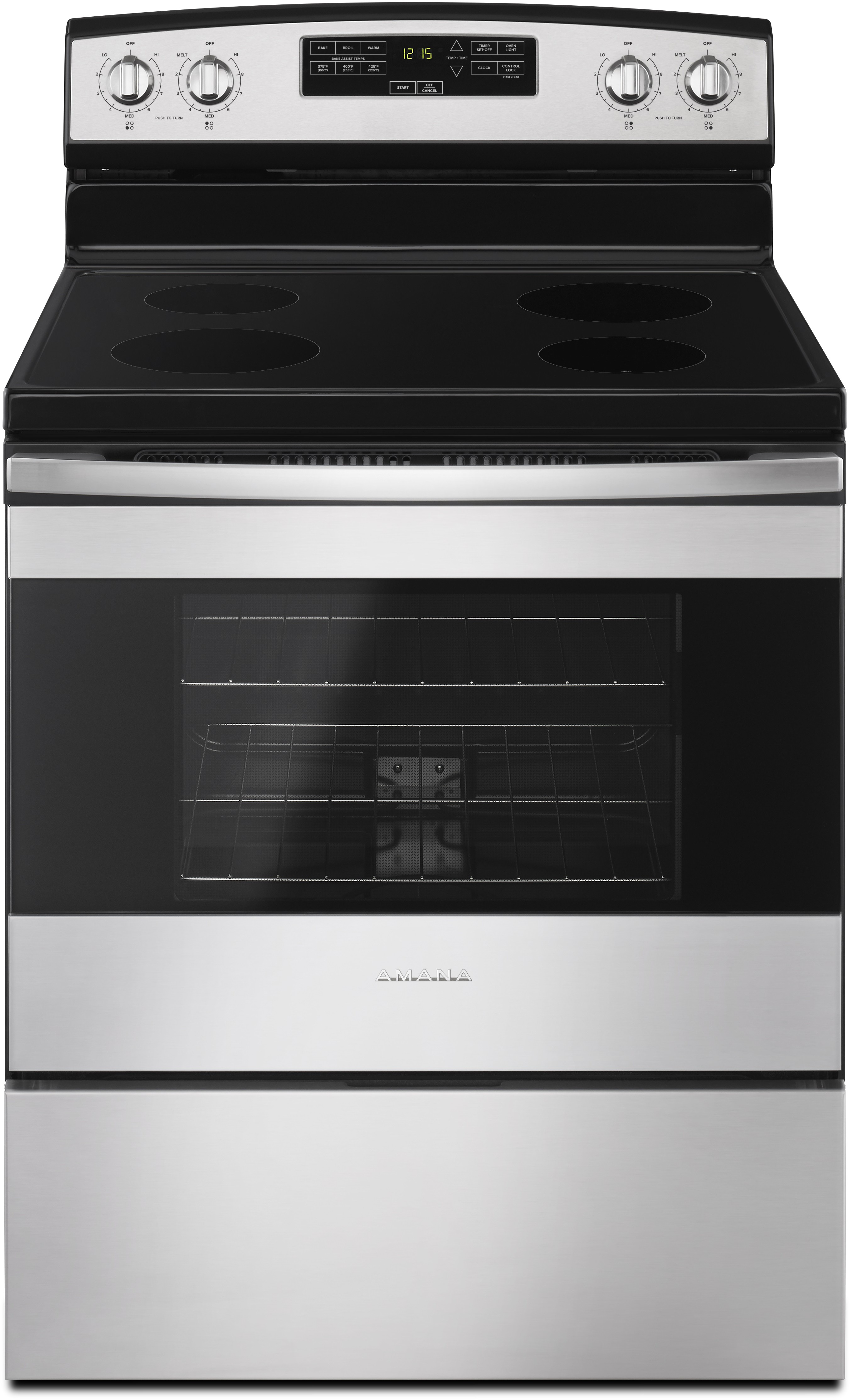 Amana Aer6303mfs 30 Inch Electric Range With 4 8 Cu Ft Capacity Radiant Heating Elements Temp Ure Cooking System Bake Ist Temps Warm Hold