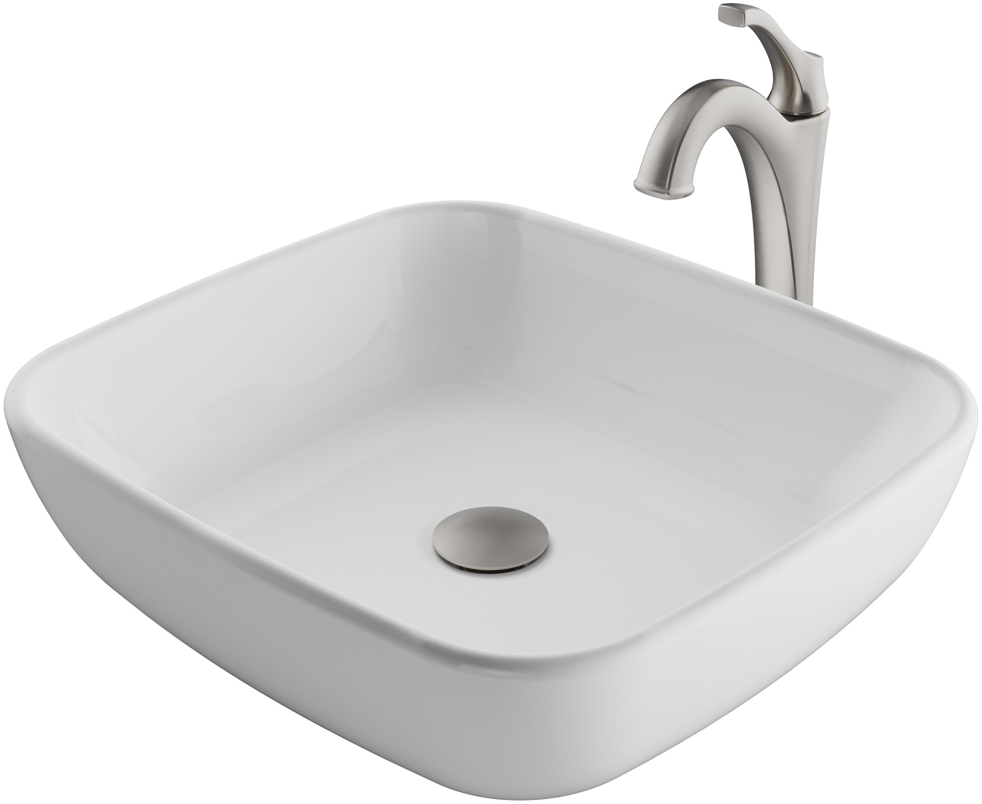Kraus Ckcv1271200sfs 18 Inch Square White Porcelain Ceramic Bathroom Vessel Sink And Arlo Faucet Combo Set With Pop Up Drain Stainless Brushed Nickel