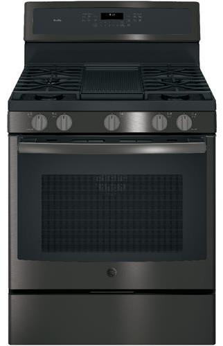 GE Profile PGB911BEJTS 30 Inch Freestanding Gas Range, 5 Sealed Burner Cooktop in Black Stainless Steel