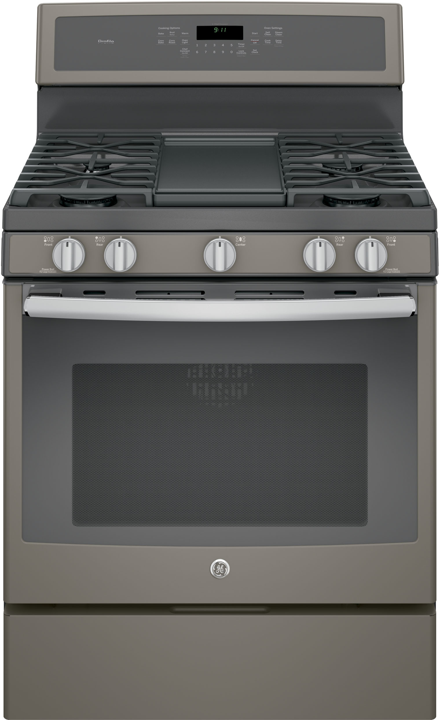 Ge Pgb911eejes 30 Inch Freestanding Gas Range With Chef Connect Convection Steam Self Clean Boil Burners Reversible Grill Griddle 5 6 Cu Ft
