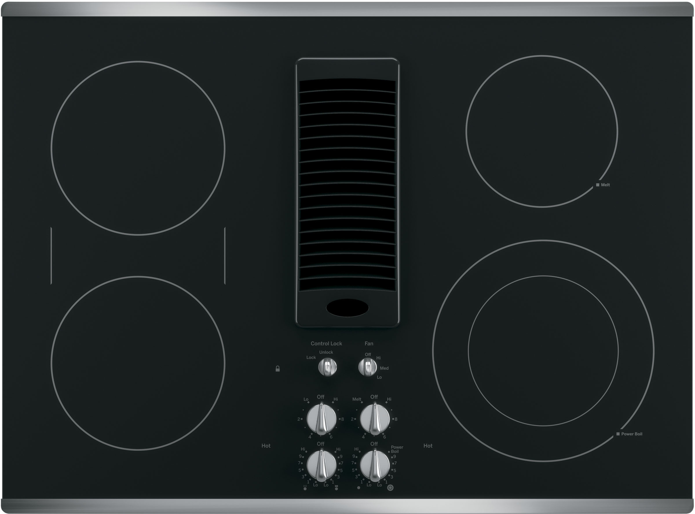 3-Speed Downdraft Exhaust System Bridge Element and 9//6 Inch Power Boil GE PP9830DJBB 30 Inch Smoothtop Electric Cooktop with 4 Burners