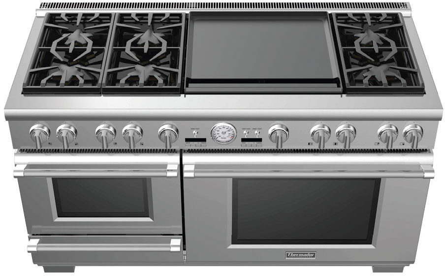 Thermador Prd606resg 60 Inch Dual Fuel, Double Oven Electric Range With Warming Drawer