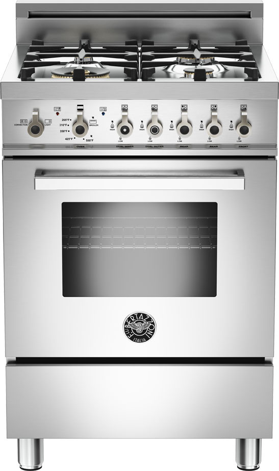 Bertazzoni Pro244gasxlp 24 Inch Gas Range With Convection Burner Storage Drawer 4 Sealed Aluminum Burners 2 Cu Ft Oven Backguard And