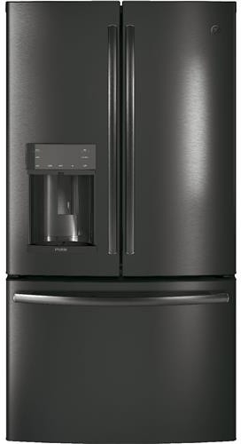 Image of GE Profile 4 Piece Kitchen Appliances Package with French Door Refrigerator, Electric Range, Dishwasher and Over the Range Microwave in Black Stainles