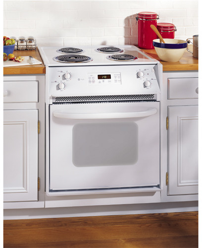 ge jmp31wcww 27 inch drop in electric range with 4 coil elements 3 0 cu ft self clean. Black Bedroom Furniture Sets. Home Design Ideas