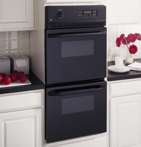 Ge Jrp28bjbb 24 Inch Double Electric Wall Oven With 2 7 Cu Ft Upper Smartset Controls And Lower Black