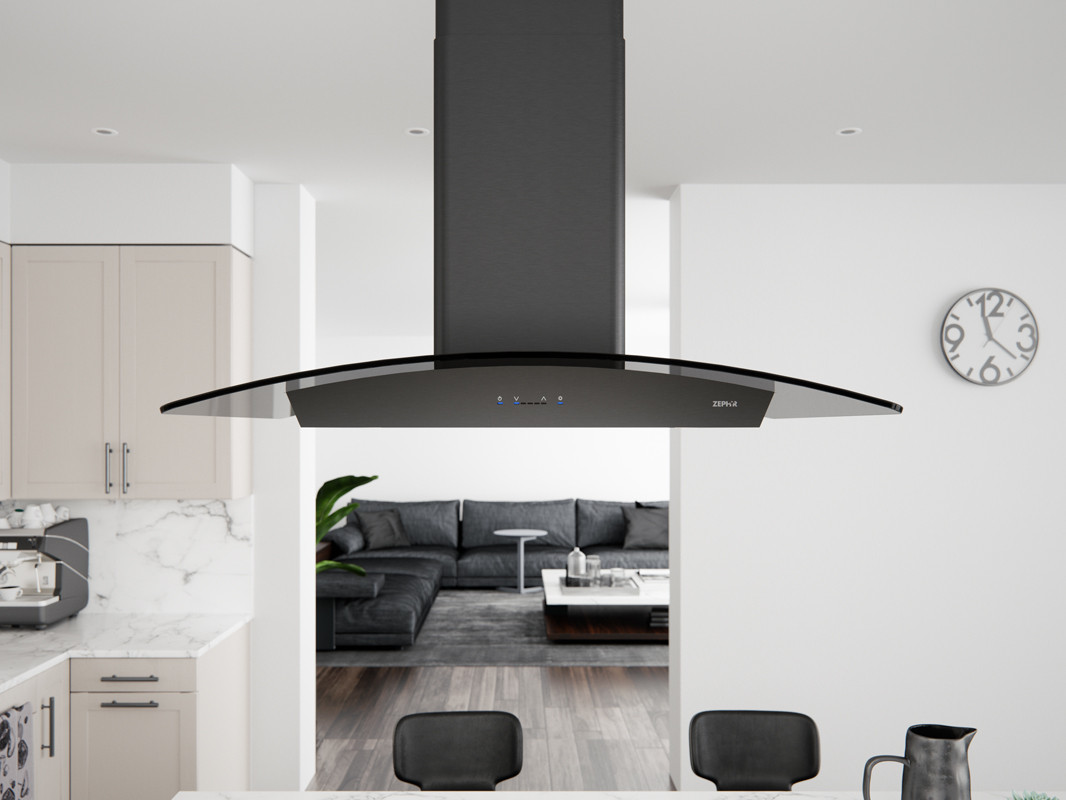 Picture of: Zephyr Zrem90absgg 36 Inch Ravenna Island Hood With Airflow Control Technology Britestrip Led Lighting Icon Touch Controls Aluminum Mesh Filters And Recirculating Option