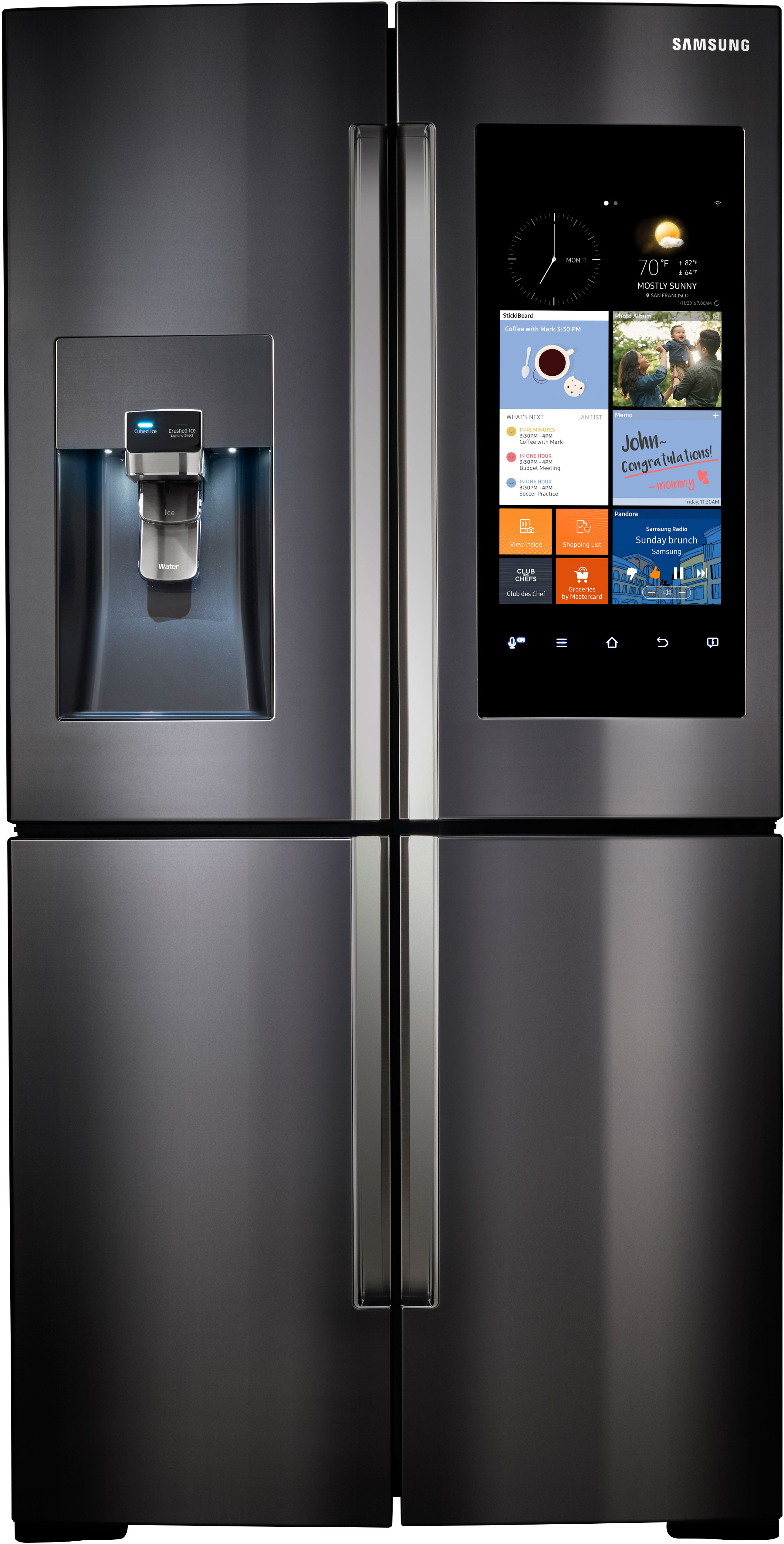 Samsung RF22K9581SG 36 Inch Counter Depth 4 Door Refrigerator With Family  Hub WiFi LCD Touchscreen, Built In Cameras, 22.1 Cu. Ft.
