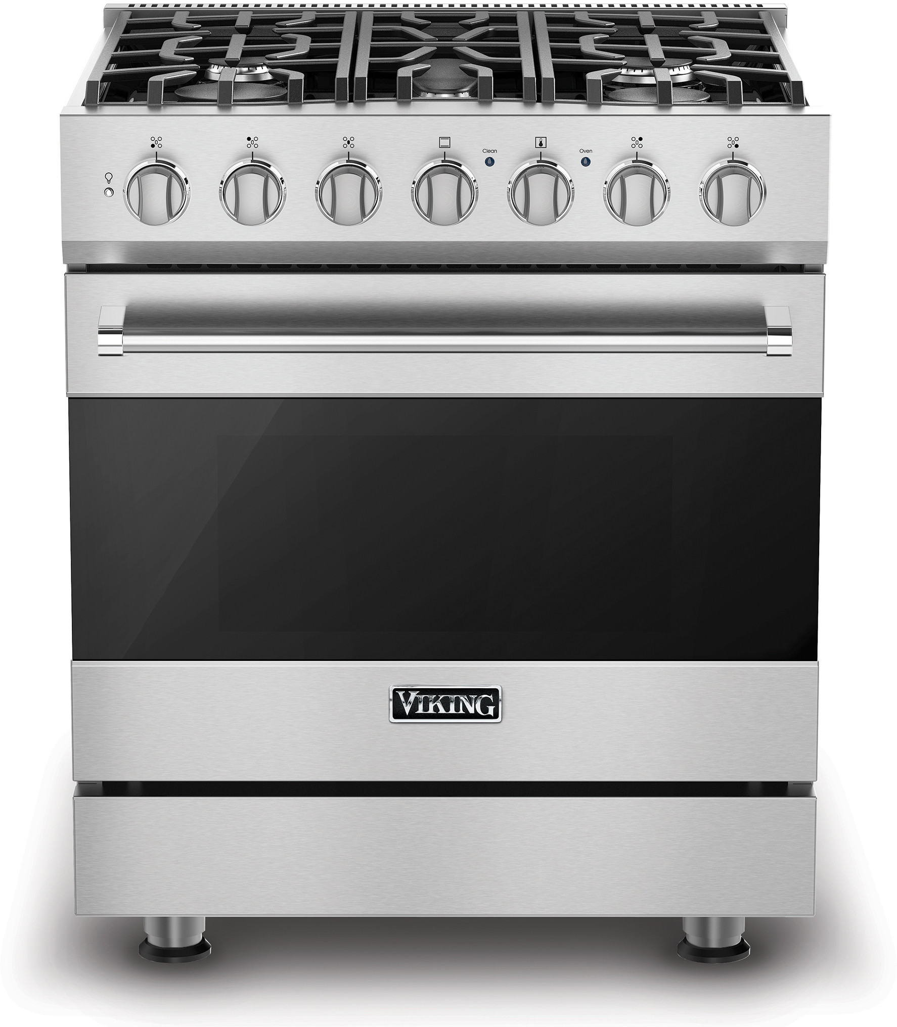 Viking Rvgr33025bss 30 Inch Freestanding Gas Range With 5 Sealed Burners 4 Cu Ft Oven Capacity Continuous Grates Self Clean Surespark Ignition System Truglide Oven Racks And Proflow Convection Baffle Stainless Steel Natural Gas