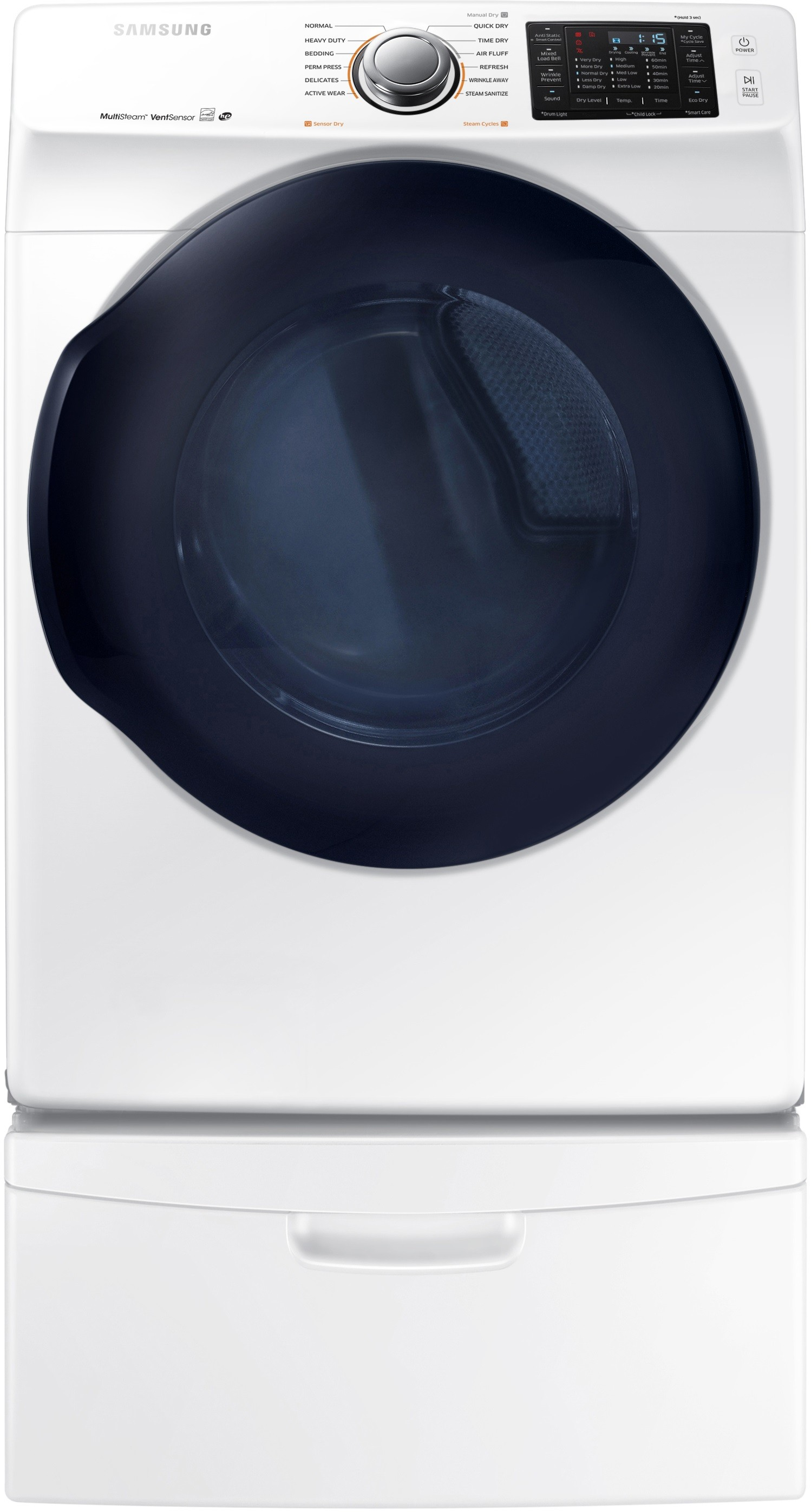 Samsung Dv45k6200gw 27 Inch With 7 5 Cu Ft Gas Dryer With 12 Dry Cycles 11 Dry Options 5 Temperature Selections Multi Steam Technology Vent