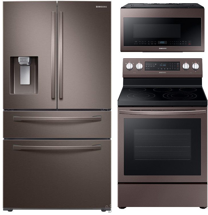 Samsung Sareradwmw4098 4 Piece Kitchen Appliances Package With French Door Refrigerator Electric Range Dishwasher And Over The Range Microwave In Tuscan Stainless Steel