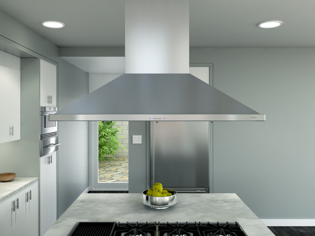 Zephyr Zsle48bs 48 Inch Island Mount Chimney Range Hood With Icon Touch Controls Britestrip Led Act Technology 5 Speed Levels And 1 200 Cfm