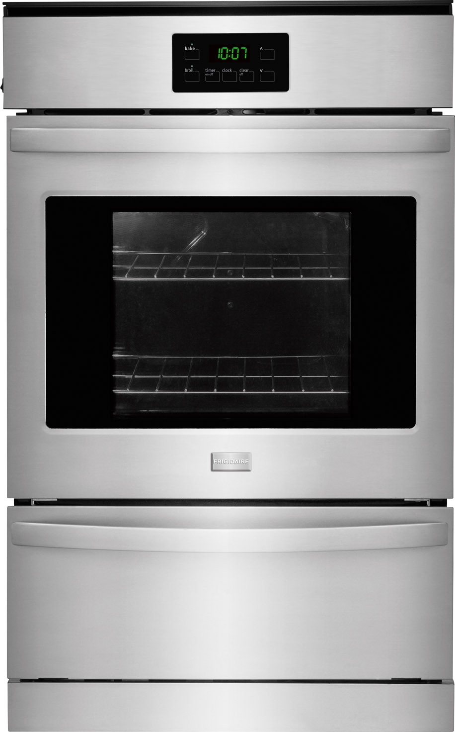Frigidaire Ffgw2425qs 24 Inch Single Gas Wall Oven With 3 3 Cu Ft Capacity Ready Select Controls Dual Radiant Baking And Roasting Vari Broil Temperature Control Self Cleaning And Ada Compliant Stainless Steel