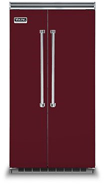 Image of Viking 5 3 Piece Kitchen Appliances Package with Side-by-Side Refrigerator and Gas Range in Burgundy Burgundy VIRERARH29